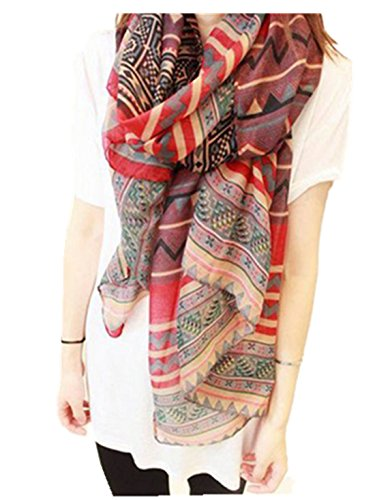 Sheer Scarf, TAORE Soft Light Weight Cotton National style Printing Shawl Wrap (Red)