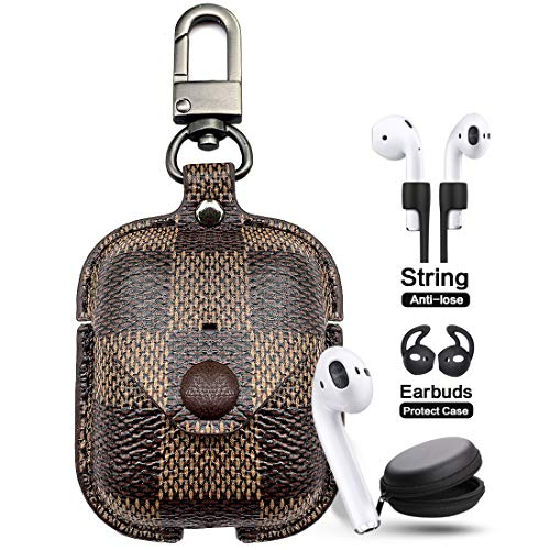 Airpods Leather Case Cover with Keychain Strap Accessories Kits, JANSAE Design Protective Airpod Case Compatible Apple Airpods 1/2 Charging Case ()