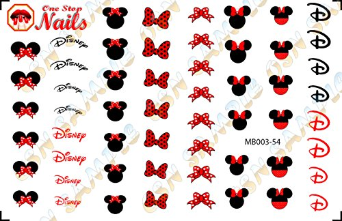 Disney Minnie Mouse Bow Nail Art Decals. Tattoo Nail Decal Set of 54 by One Stop -