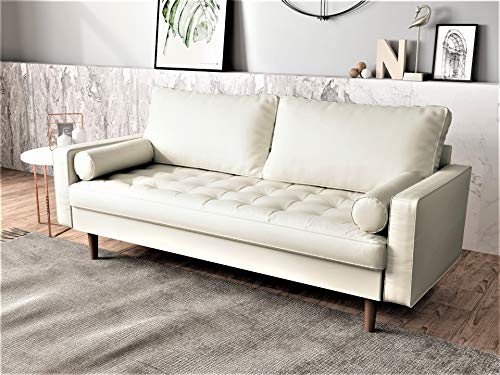 Container Furniture Direct Orion Mid Century Modern Faux Leather Upholstered Sofa Loveseat Set with Bolster Pillows, White