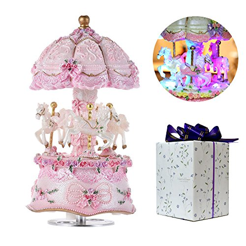 ACCOCO Carousel Music Box Luxury Color Change LED Light Luminous Rotating 3-Horse Carousel Horse Music Box Melody Happy Birthday to You (Happy Birthday, Pink) (Light Carousel)