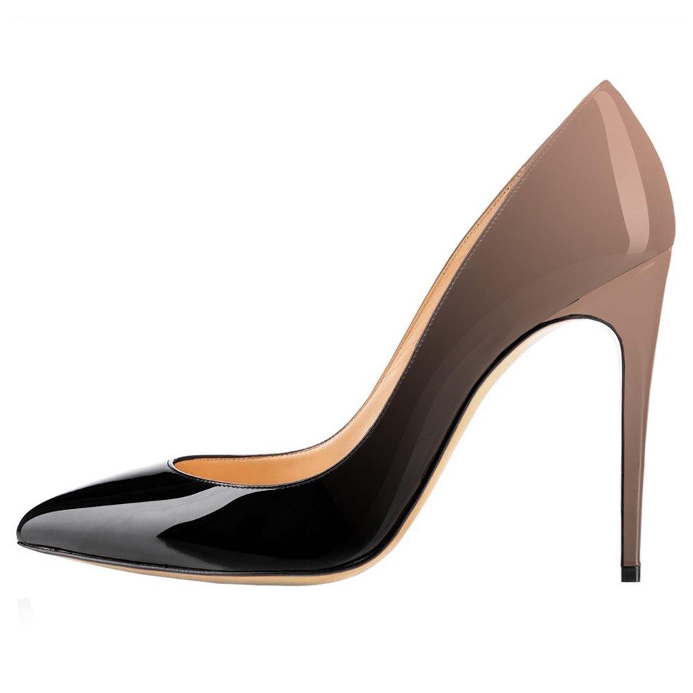 EKS - Zapatos de Tacón Mujer 45 EU|Nackt&schwarz-10cm