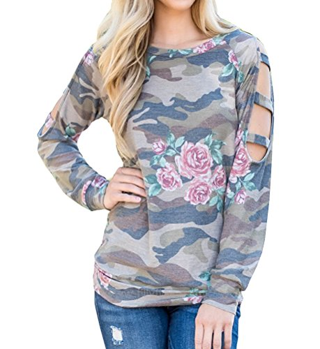 Tuesdays2 Womens Camouflage Floral Print Long Sleeve Round