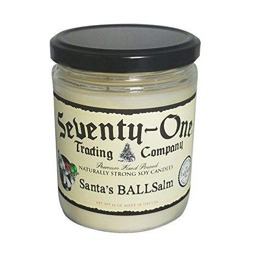 Santas BALL-Salm Candle by Seventy-One Trading|American Made Balsalm Scent Paraffin Free|Fill your room with cedar and vanilla |80 Hour Burn Time, 16 Ounce