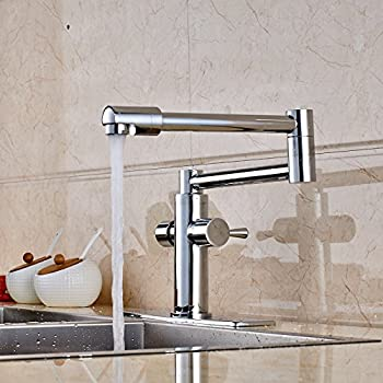 Senlesen Polished Chrome Extent Long Spout Kitchen Faucet Vanity Sink Mixer  Tap With Cover Plate
