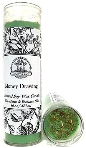 Art of the Root Money Drawing Scented 7 Day SOY Herbal Spell Candle (Fixed) for Wealth, Financial Security, Propserity (Wiccan, Pagan, Hoodoo, (Money Drawing Herbs)