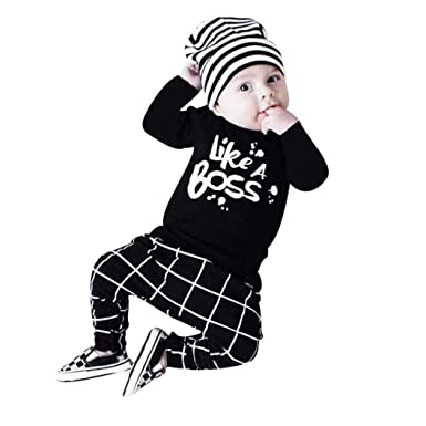SRYSHKR Toddler Baby Boy Outfit Lettering Printed Long Sleeve T-Shirt Tops+ Pants Set (