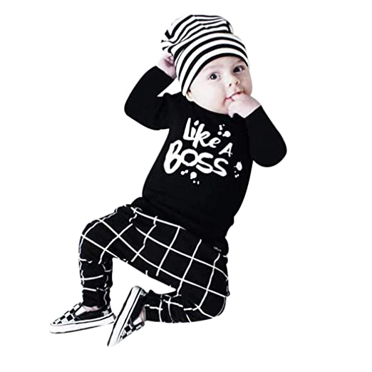 Amazon.com: SRYSHKR Toddler Baby Boy Outfit Lettering Printed Long Sleeve T-Shirt Tops+ Pants Set: Clothing