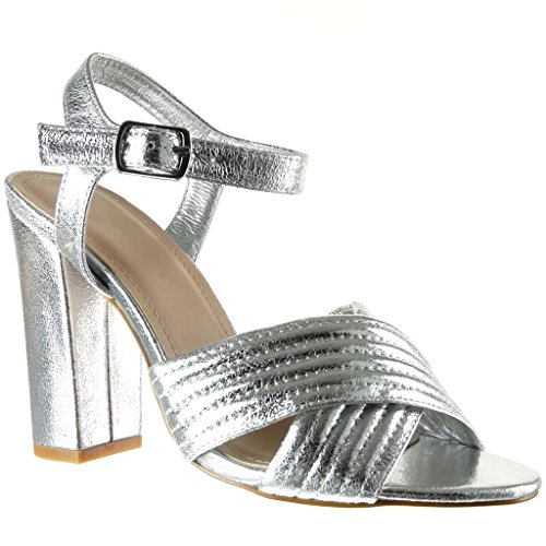 Angkorly - damen Schuhe Sandalen Pumpe - Offen - Linien - Fertig Steppnähte - String Tanga Blockabsatz high heel 10.5 CM - Silber