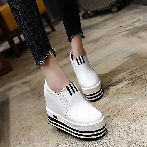 CYBLING Fashion Women Platform Wedge Sneakers With Hidden High Heels Hightop Walking Loafers Shoes White lbjKIVsoDO