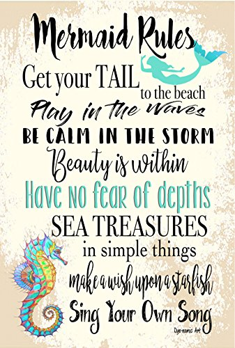 Mermaid Rules Metal Sign Beach Decor Metal Sign Home Decor Mermaid Sign Kids Room Ocean Life