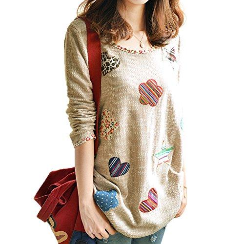 Diamondo Hearts Flowers Blouse Shirts