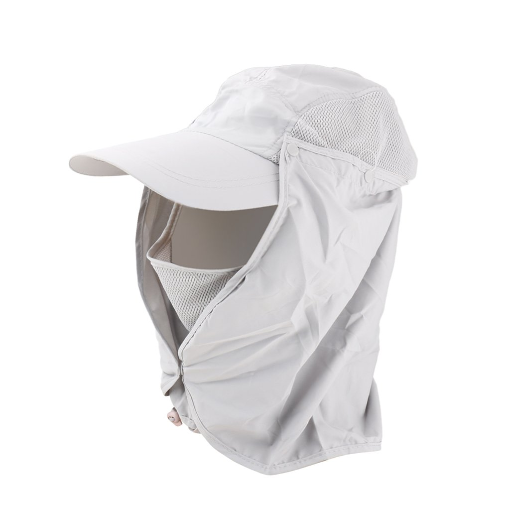 Gray 360 Degree Outdoor Jungle Hat Shawl Neck Sun Protection Hat w/ Face Protection Generic