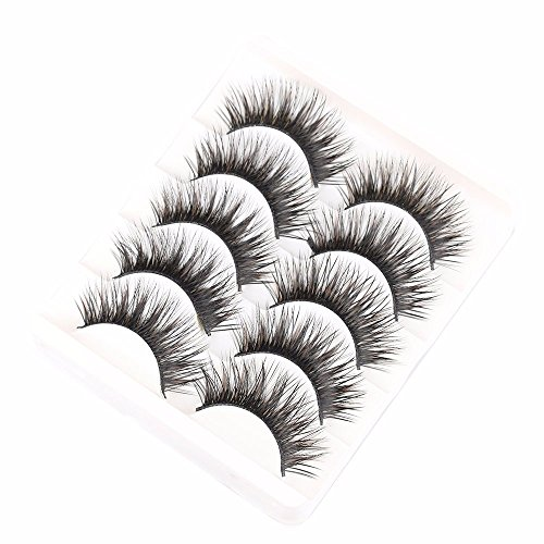 Money coming shop 5 Pairs Handmade Black Voluminous False Eyelashes Makeup Very Thick Long Fake Eye Lashes Extention Tools
