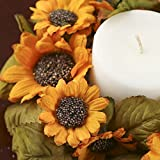 Factory Direct Craft Pair of Artificial Golden Sunflower Candle Rings for Home Decor, Crafting and Displaying