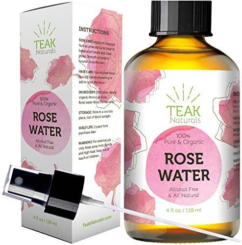 24K Gold Rose Water Toner by Teak Naturals - 24 Carat Organic Natural Moroccan Rosewater (Chemical Free) - 4 Ounce (4 oz) 24 CT Gold Line Series (118 ml)