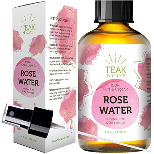 ROSE WATER TONER by Teak Naturals - 100% Organic Natural Moroccan Rosewater (Chemical Free) - 4 oz ()