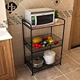Kitchen shelf HUO Estante De Cocina Estante De Almacenamiento De Cocina De Microondas (Color : Teca)
