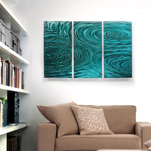Teal Green Modern Abstract Painting Metal Wall Art Sculpture- Home