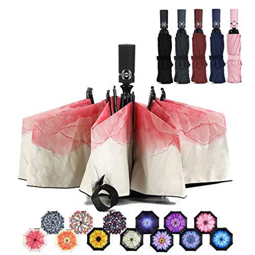 LANBRELLA Umbrella Reverse Travel Umbrellas Windproof Compact Folding - Red (Best Umbrella Compact For Travels)
