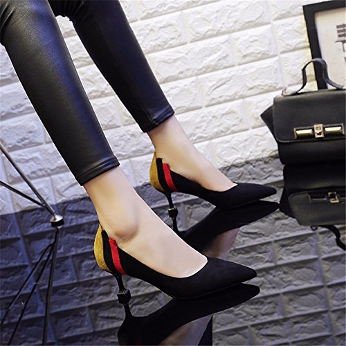 HXVU56546 La Nueva Temporada De Primavera Y Otoño Las Mujeres Zapatos De Tacón Fino Con Gatos Y Zapatos De Punta Y Versátil Hechizo Color Con Solo Zapatos. black