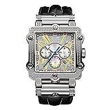 """JBW JB-6215-238-B para hombre """"Phantom"""" Diamante y plata Bisel cuadrado de acero inoxidable Reloj de pulsera de cuero negro con 3 esferas secundarias"""