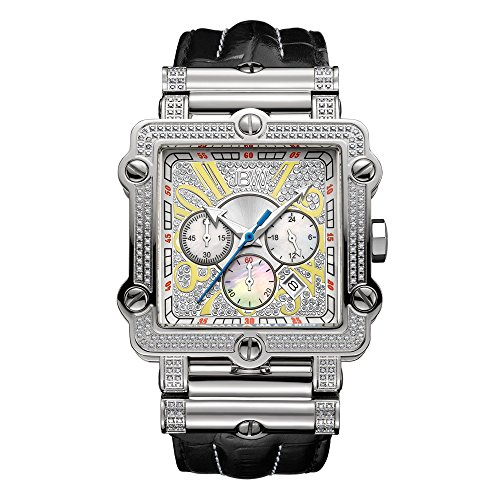 JBW Luxury Men's Phantom 2.38 Carat Diamond Wrist Watch with Leather (Diamond White Dial Watch)