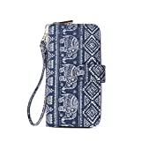 Lam Gallery Bohemian Style Clutch Wallets Canvas Cotton Purse Bag for Womens RFID Blocking Wallet Card Holder Long Wristlet Zipper Wallet-Elephant Pattern Blue
