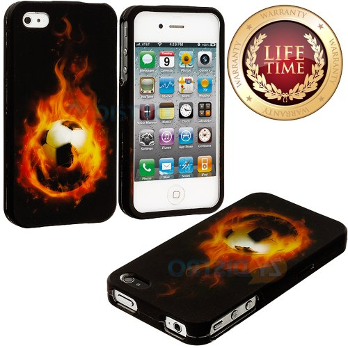 myLife Hot Soccer Ball Series (2 Piece Snap On) Hardshell Plates Case for the iPhone 4/4S (4G) 4th Generation Touch Phone (Clip Fitted Front and Back Solid Cover Case + Rubberized Tough Armor Skin)