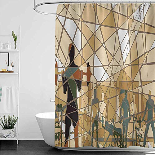 (home1love Large Shower Curtain,Fitness Mosaic Design of People Exercising in a Gym Barbells Weightlift,Fabric Shower Curtain Bathroom,W48x84L,Slate Blue Pale Brown Black )