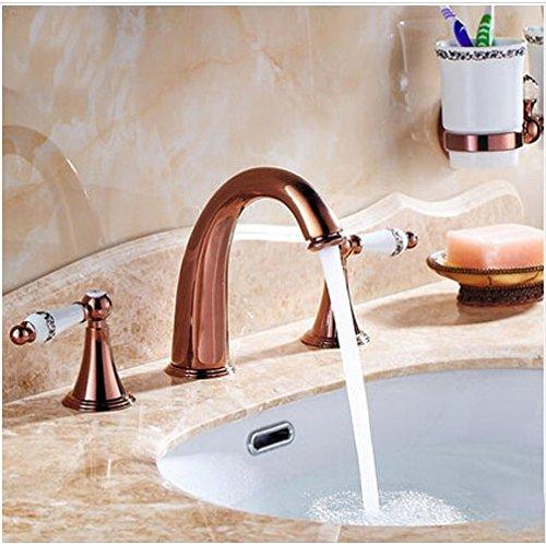 Gowe Deck Mount 3PCS Bathroom Basin Sink Faucet Rose Gold Finish Double Handles Mixer Faucet Rose Double Sink