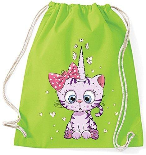 Kittykat Di Borse Gatto Caticorn Cotone Sportive Sacco Lime Unicorn Kitten Iuta Stringa Panno Lilla Viola Zaino Palestra Gymsack Up57qAxw