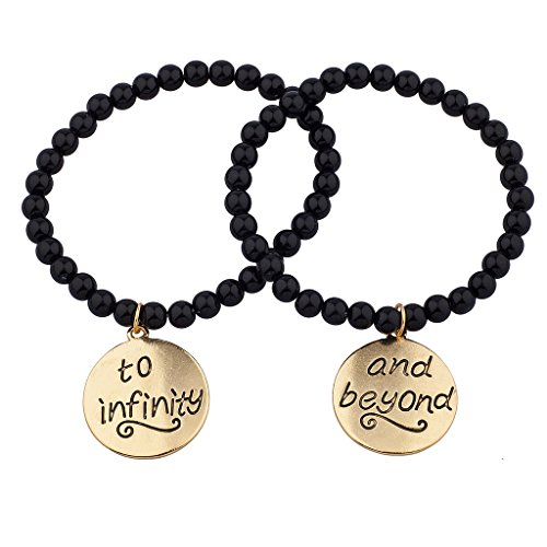 Lux Accessories Black Beaded to Infinity & Beyond BFF Best Friends Matching Bracelet Set