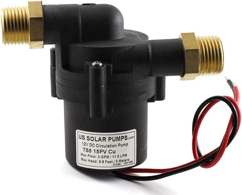 TOPSFLO TS5 15PV (CU-NPT) 12V DC Solar Water Heater Pump,Solar Circulator Pump,Copper fitting