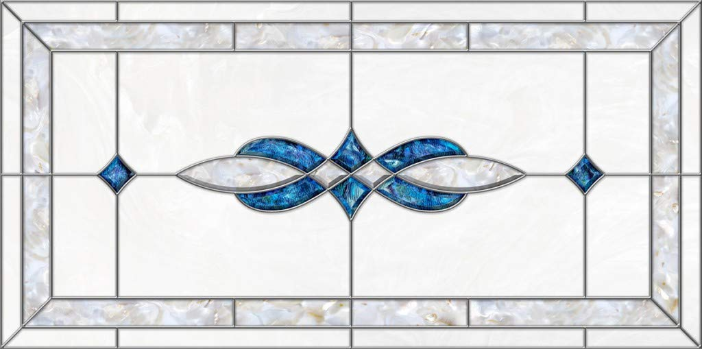 Decorative Fluorescent Light Covers - Stained Glass 11 - Blue Pearl (47 3/4 x 23 3/4)