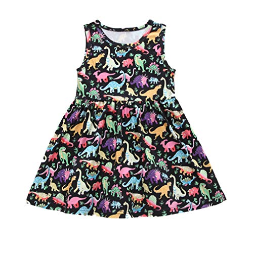 Infant Kids Girls Summer Sleeveless Dress Dinosaur Print A Line Midi Beach Party Casual Daily Dresses Clothes (Black, 4-5 Years)