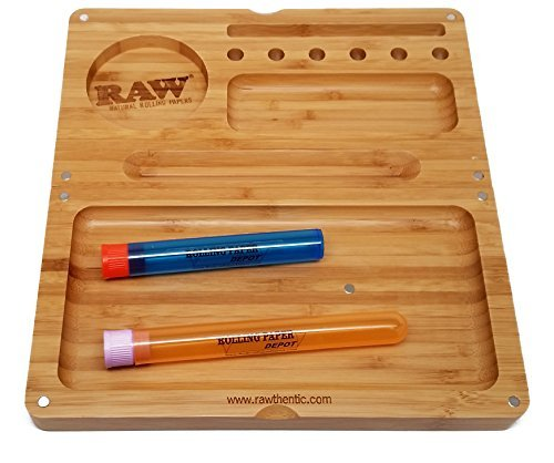 RAW ''Backflip'' Bamboo Rolling Tray with RPD Doobtubes by RAW, RPD