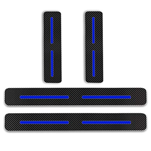 - Maiqiken 3D Carbon Fiber Car Door Plate Door Sill Scuff Plate Cars Sticker Blue Reflective Adhesive Anti-Kick Scratch for Toyota Camry Corolla Avalon CH-R Prius Highlander RAV4 4Runner Tacoma