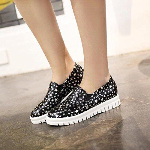 Summerwhisper Damesshirt Met Trendy Sterrenprint Elastiek Lage Top Instapper Schoenen Instapplatform Sneakers Zwart