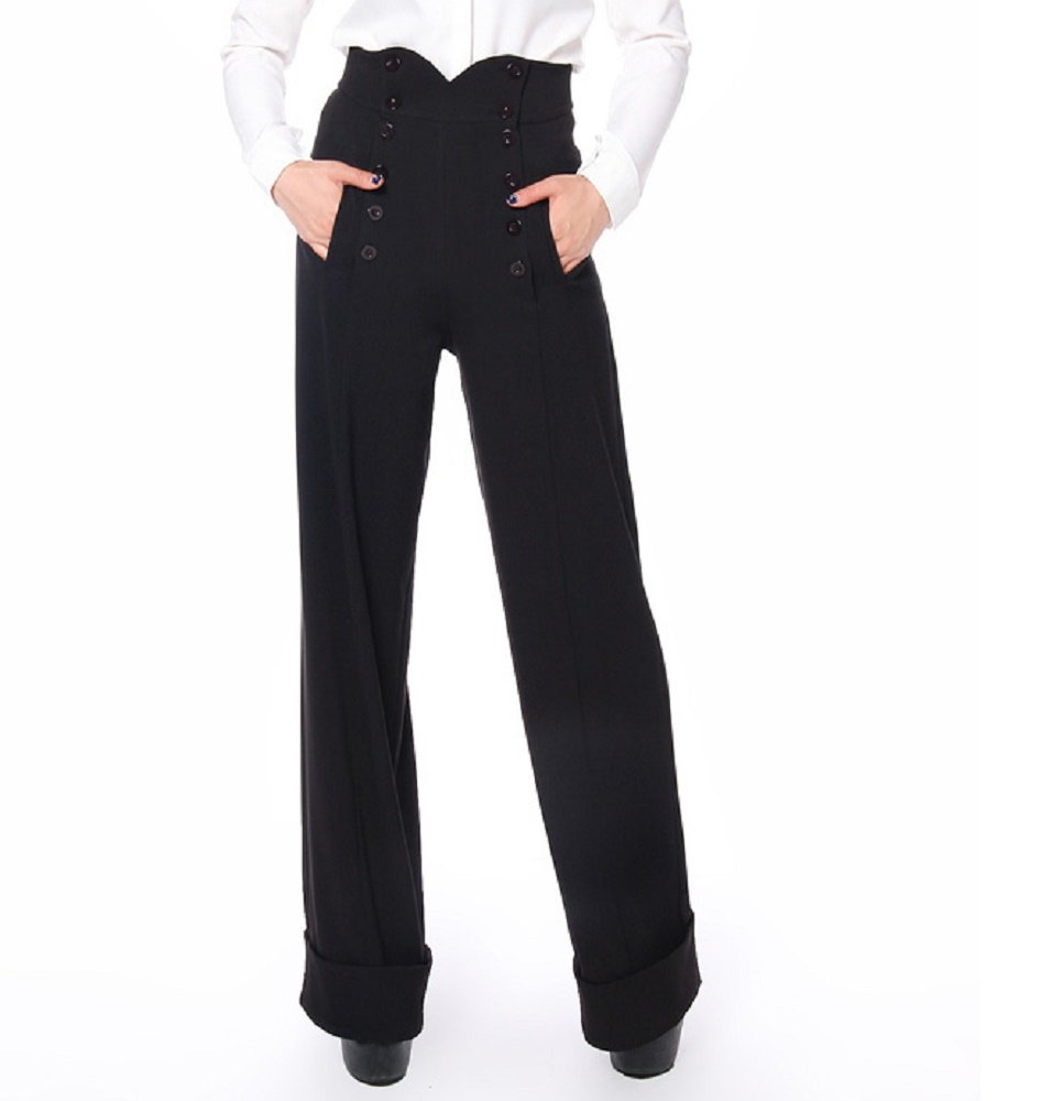 50's Vintage Style High Waist Double Buttoned Front Black Wide Leg Cuffed Pants (6 (EU38))