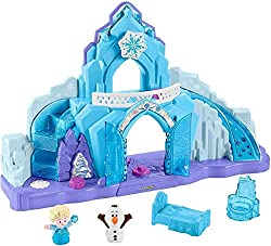 Every young Disney fan will love recreating their favorite moments from the Frozen film with this magical Little People playset. Kids can explore Elsa's Ice Palace with Olaf, the snowman, and Elsa, Queen of Arendelle, pressing and turning the Discove...