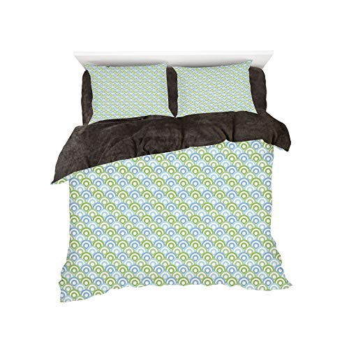 - All Season Flannel Bedding Duvet Covers Sets for Girl Boy Kids 4-Piece Full for bed width 4ft Pattern by,Aqua,60s 70s Home Decor Inspired Half Rounds Inner Shapes Image Decorative,Green Dark Blue Ligh