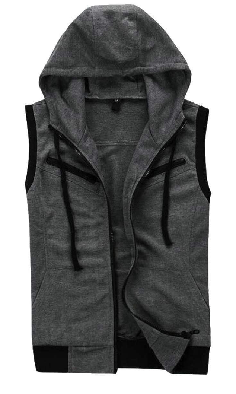 ZXFHZS Mens Spring Summer Hoodie Active Sleeveless Front-Zip Slim Fit Vest