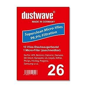 Pack de ahorro–10bolsas para aspiradoras LG Electronics–V de c 4440ndv, NTV Aspiradora–dustwave® Marca Bolsa para el polvo/Fabricado en Alemania + Incluye Micro de filtro