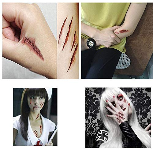 Chengzhi I Tatuaggi temporanei (10 Fogli) – Halloween Zombie Scars Tatuaggi Adesivi con Falsi Scab Sangue Costume Speciale FX Puntelli di Trucco