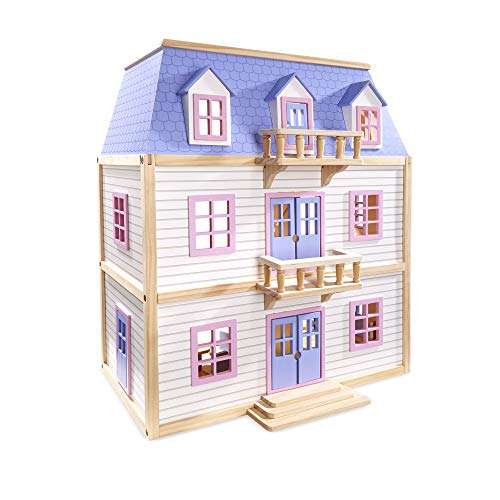 n Wooden Multi-Level Dollhouse With 19 pcs Furniture [White] ()