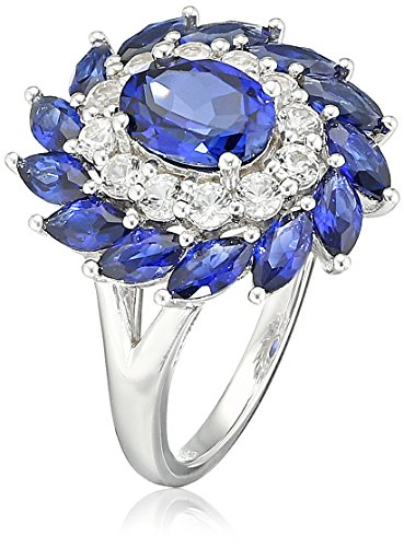 Sterling Silver Created Sapphire and Created White Sapphire Flower Oval Ring, Size 7 White Sapphire Flower Ring