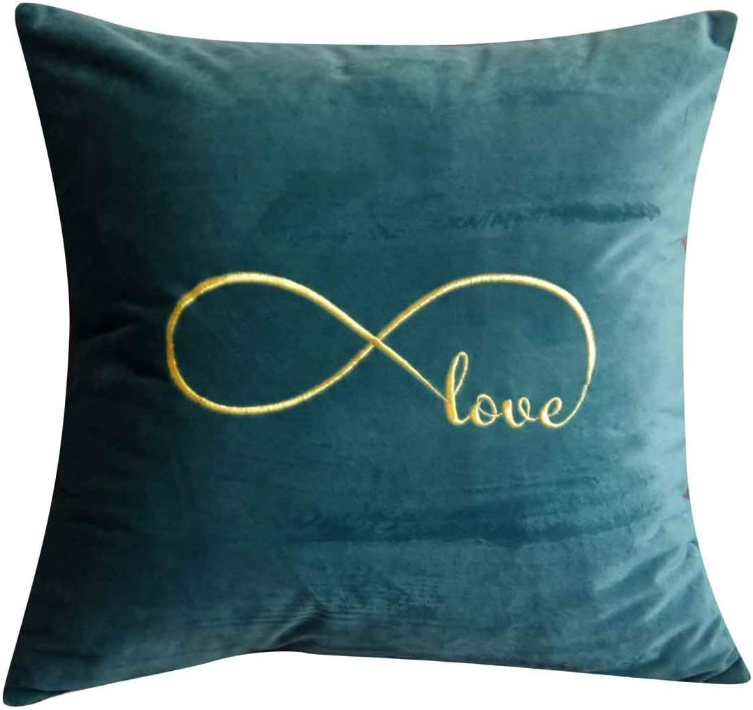 Favdec Embroidered Infinity Love Decorative Throw Pillow Cover Love Pillow Cover 18 Inches X 18 Inches Cover Only Home Kitchen
