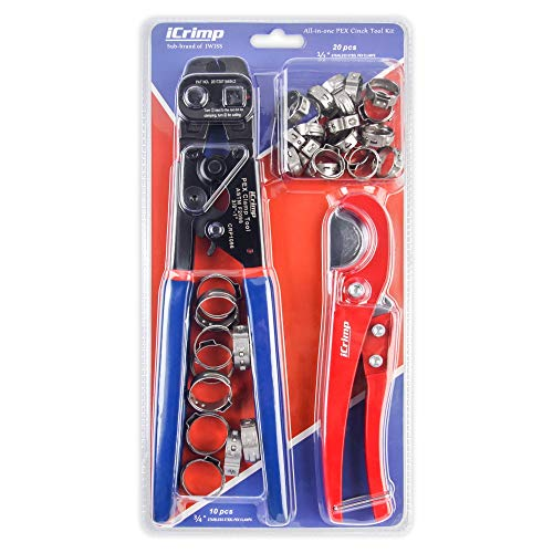 iCrimp Ratchet PEX Cinch Tool with Removing function for 3/8 to 1-inch Stainless Steel Clamps with 20PCS 1/2-inch and 10PCS 3/4-inch PEX Clamps and Pex Pipe Cutter- All in One