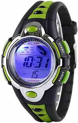 Kid Watch Multi Function Digital LED Sport 50M Waterproof Electronic Digital Outdoor Watches Alarm for Boy Girl Children Gift (green)